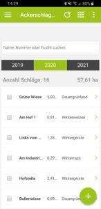 Ackerschlagkartei Übersicht in der App