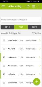 Schlagauswahl Übersicht Schlagkartei in der App top farmplan