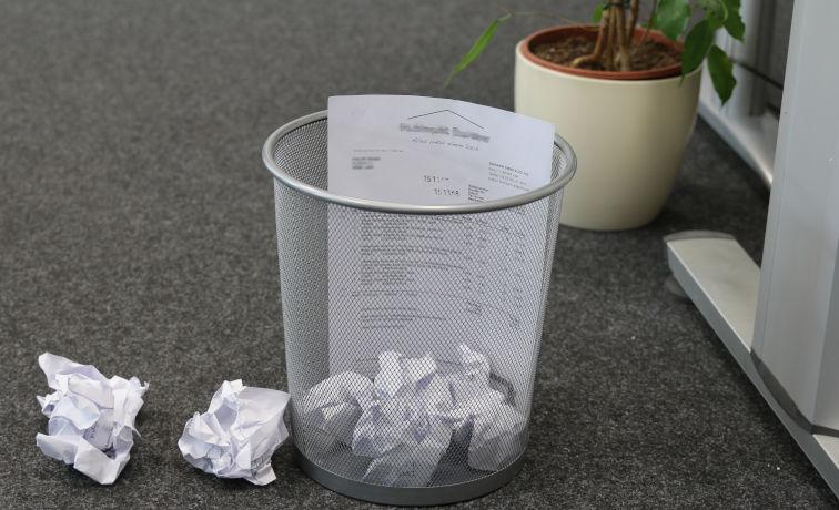 Ersetzendes Scannen, Revisionssicher, Papierkorb, Rechnung entsorgen