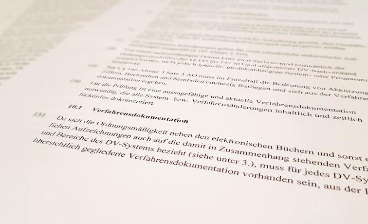 Verfahrensdokumentation GoBD Schriftstück