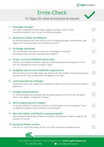 Ernte Checkliste