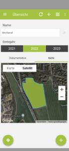 Smartphone ansicht Karte in der App und Navigation zum Schlag